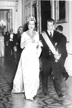 Noblesse et Royautés: Queen Marie José of Italy, formerly Princess Marie José of Belgium, with her nephew Prince (later King) Albert of Belgium at the wedding of her nephew King Baudouin of Belgium, December 1960