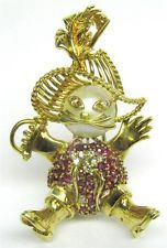 Puss In Boots Pin Fur Clip Ruby Pearl Diamond Brooch 32g. 18k Gold 1345 V