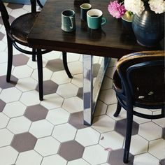 Hex Ice Crystal floor tile. I don't like the grey tiles - they remind me too much of a football!
