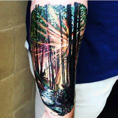 Tattoodo - Tattoo uploaded by Tara - Hip Tattoos Women, Sleeve Tattoos For Women, Tattoo Sleeve Designs, Tattoos For Guys, Nature Tattoo Sleeve Women, Forest Tattoo Sleeve, Forest Tattoos, Nature Tattoos, Galaxy Tattoo Sleeve