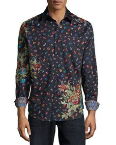 Skull & Floral-Print Woven Sport Shirt, Black by Robert Graham  Skulls & Flowers make a great combination for the man in your life!