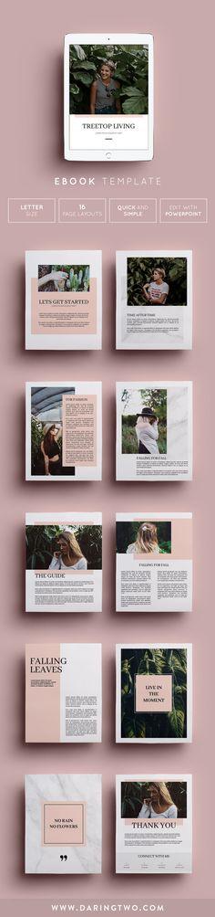Ebook Template // 16 Pages Brochure Design, Branding Design, Publication Design, Personal Branding, Editorial Design, Delish, Design Inspiration, Printables, Lettering