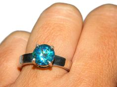 Topaz Ring, Sterling Silver Ring With Blue Stone, Mystic Topaz Ring