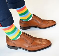Striped men's socks from Soxy and gorgeous brown longwing dress shoes.