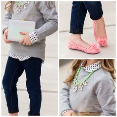 From Glamour-Zine.com: Polka dots, sparkle and denim trends for fall from OshKosh B'gosh. #OshKoshFirstDay
