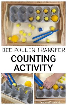 I'd probably remove two compartments to make this a tens board Bee pollen transfer counting activity for preschoolers and toddlers! Practice identifying numbers, counting, and strengthening fine motor skills with pretend pollen! Counting Activities For Preschoolers, Insect Activities, Preschool Lessons, Spring Activities, Preschool Activities, Preschool Garden, Rainbow Activities, Physical Activities, Insect Crafts