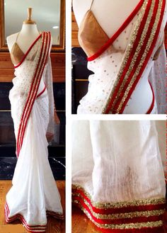 Shop Try N Get\'s White Color Stylish Designer Party Wear Saree by Try N Get online. Largest collection of Latest  online. ✻ 100% Genuine Products ✻ Easy Returns ✻ Timely Delivery