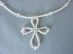 FREE beading picture tutorial for Wire Loop Cross necklace