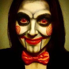 So I had a practice run of my Halloween make up... #halloween #saw #jigsaw #puppet #iwanttoplayagame #makeup #fancydress #horror #fancydressmakeup #art #artist #illusionmakeup #foureyez #contactlenses #halloween2015 #halloweencostume