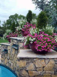 Gorgeous containers with pink/white scheme - Unique by Design l Helen Weis Container Flowers, Container Plants, Container Gardening, Unique Gardens, Beautiful Gardens, Garden Planters, Potted Garden, Outdoor Planters, Potted Plants