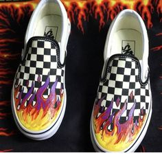 8caa3f212bd Slip on Flame Checkerboard Vans  handpainted Water weather - Depop Slip On