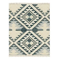 Checkerboard Diamond Wool Dhurrie, Midnight - West Elm.  8x10 is $999 retail  **VERY TEXTURED - SEE UP CLOSE PHOTOS**