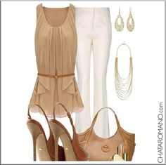 CHATA'S DAILY TIP: Stone and winter white is one of the most elegant colour combinations. Best accessorized with gold, not silver, to create an overall warm tone. #colour #gold COPY CREDIT: Chata Romano http://chataromano.com/consultant/chata-romano/ IMAGE CREDIT: What to wear today Facebook page.