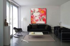Abstract oil painting on canvas, home decor painting, modern painting, Style At Home, Feng Shui, Home Decor Paintings, Minimalist Home, Living Room Interior, Photos, Contemporary, Interior Design, House Styles