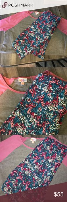 Lularoe outfit Lularoe outfit. Xs Irma and OS leggings. Willing to seperate. Leggings look like stained glass butterfly wings. The shirt is new but I ripped the tag off.  Never worn the leggings LuLaRoe Other