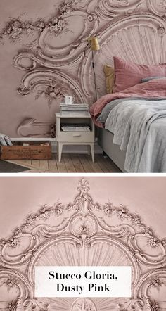 Stucco Gloria, Dusty Pink - New Ideas Wallpaper Childrens Room, Kids Room Wallpaper, Modern Wallpaper, Pink Wallpaper, Wall Wallpaper, Photo Wallpaper, Tapetes Vintage, Pink Headboard, Romantic Room