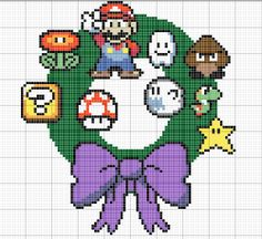 Mario cross stitch or perler bead wreath by GeekyDecorations, £5.00
