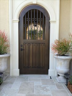 Custom Wood Gate by Garden Passages with Decorative Wood Pickets by Garden… Custom Gates, Blue Shutters, Wooden Gates, Wrought Iron Gates, Mediterranean Home Decor, Entry Doors, Front Doors, Tuscan Style, Spanish Style