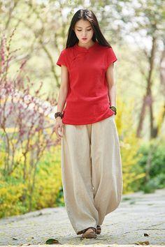211c917f438036 2018 NEW! Women Linen Lantern Pants – Original Retro Style Women Linen  Lantern Trousers by