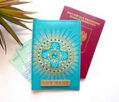 / Sea Blue Passport Cover / Leather Passport holder / Leather passport wallet Personalized gift for Travelers / Initial passport cover / gift for mom  This original hand-painted Leather Passport Cover is a great gift for oneself, for a daughter, mother, grandmother, sister or girlfriend. Passport cover and travel wallet Sea Mandala looks wonderful. An internal side is made out of a sturdy transparent material, which makes it practical for storing documents.  Pattern M...