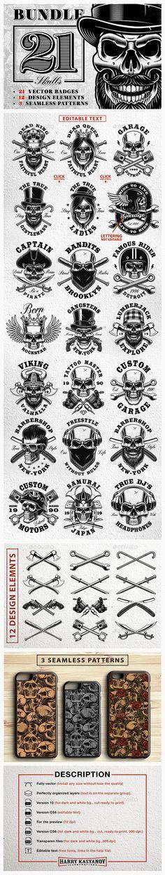 Set of Vintage Skulls - Photoshop PSD, Vector EPS, AI Illustrator