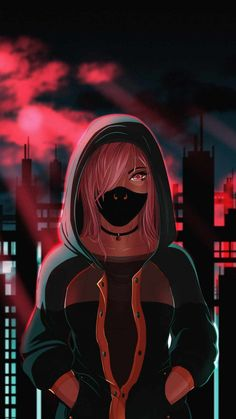 Hoodie Masked Girl Anime - iPhone Wallpapers