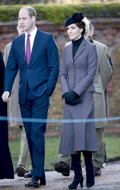 The Duke and Duchess by the War Memorial outside the church for the wreath laying ceremony
