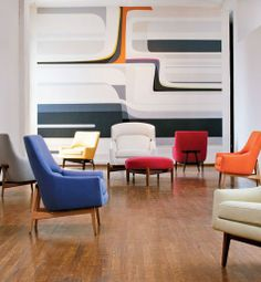 """from Ralph Pucci's book, """"Wall"""", with Jens Risom furniture; via Architectural Digest"""