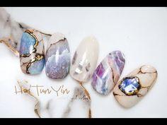 七彩的宝石有着美丽的千年传言,梦幻晶亮,带给大家一款高颜值的宝石甲啦 - YouTube Marble Nail Art, Gel Nail Art, Acrylic Nails, Gel Designs, Nail Art Designs, Japanese Nail Art, Nail Art Videos, Little Valentine, Cute Nails