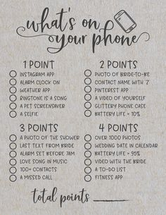 Whats On Your Phone Bridal Shower Game This is a unique bridal shower game that you can play with your family and friends at your next bridal shower or wedding shower I l. Bridal Shower Planning, Wedding Shower Games, Bridal Shower Party, Wedding Games, Wedding Planning, Wedding Day, Themed Bridal Showers, Bridal Shower Foods, Bridal Shower Checklist