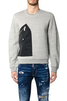 DSQUARED2 DSQUARED2 COTTON SWEATSHIRT WITH NYLON POCKET. #dsquared2 #cloth #