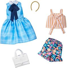 Gift for 3 to 8 Year Olds Dress with Graphic Print /& 6 Accessories Dolls Barbie Storytelling Fashion Pack of Doll Clothes Inspired by Super Mario