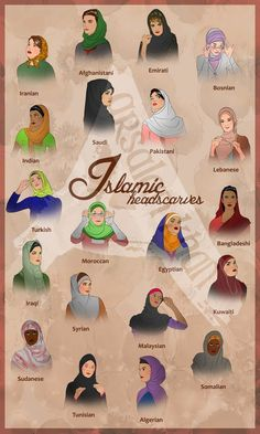 Islamic Headscaves by on deviantART Good guide for those wondering what traditional Islamic head coverings look like around the world Hijab casual#伝統 # Islamic Fashion, Muslim Fashion, Hijab Fashion, Hijab Stile, Modele Hijab, Head Scarf Styles, Fashion Vocabulary, Hijab Tutorial, Turban Tutorial
