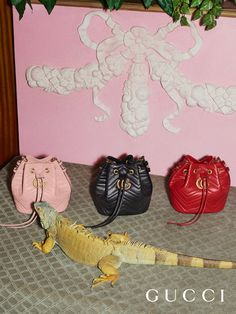 Up close with the GG Marmont buckets bags from Gucci Pre-Fall 2017 designed by Alessandro Michele.