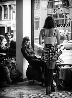 Afternoon Coffee Delight - black and white - street photography