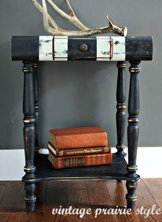 vintage prairie style: bookish side table