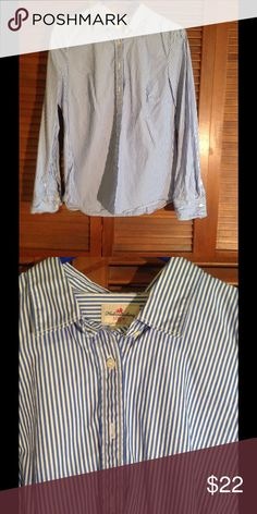J. Crew Striped Shirt Blue and white striped shirt. Long sleeves. Great condition. J. Crew Tops Button Down Shirts