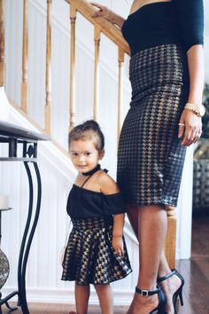 Mother Daughter Matching Skirts - Houndstooth Gold