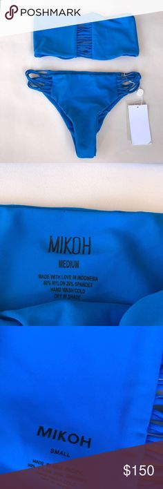 """Mikoh """"Sunset"""" Top and """"Lanai"""" Bottoms Brand new, tag still attached. SIZING top is size small and bottoms are size medium. Top is true to size but bottoms fit small in my opinion. Beautiful royal blue color, wish they fit me! Mikoh Swim Bikinis"""