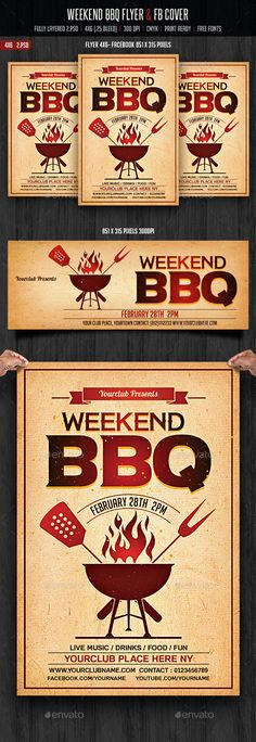 Weekend BBQ Flyer & FB Cover Template PSD #design Download: http://graphicriver.net/item/weekend-bbq-flyer-fb-cover/14317479?ref=ksioks