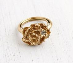 SALE - Vintage Flower Rhinestone Ring - 1970s Adjustable Gold Tone Signed Avon Floral Flowerblaze Costume Jewelry by Maejean Vintage on Etsy, $15.00