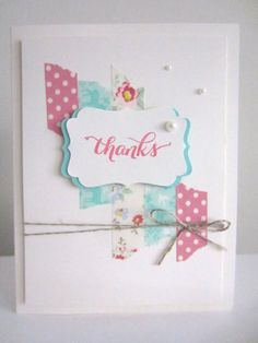 Thank You Card Handmade Greeting Card Paper Hand Stamped Stampin Up Thanks Washi Tape