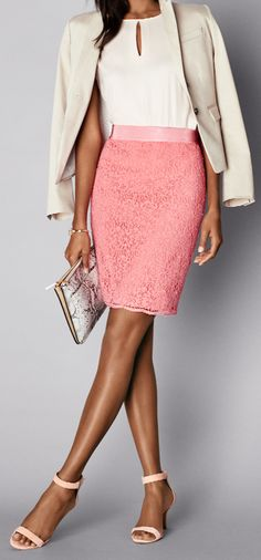 Thumbnail Image of Color Swatch 5525 Image of Lace Pencil Skirt Work Fashion, Fashion Looks, Fashion Outfits, Women's Fashion, Business Professional Outfits, Executive Fashion, Summer Work Outfits, Spring Summer Fashion, Spring 2015