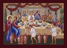 Image of Jesus at the wedding in Cana where he performed a miracle of changing water into wine Sheryl Crow, Daddy Yankee, Clash Of Clans, Black Eyed Peas, Water Into Wine, Orthodox Christianity, 3d Models, John The Baptist, Orthodox Icons