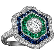 Belle Epoque Style Emerald Sapphire Diamond Ring | From a unique collection of vintage cocktail rings at https://www.1stdibs.com/jewelry/rings/cocktail-rings/