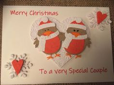 Christmas Card - Robins Special Couple hearts handmade handcrafted snowflakes handmade paper by ASCraftyCreaters on Etsy Christmas Cards, Merry Christmas, Christmas Ornaments, Robins, Snowflakes, Hearts, Couple, Holiday Decor, Paper
