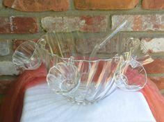 Vintage Hazel Atlas Punch Bowl Set Glass - 14 Piece Set, Colonial Swirl Shell - 1960's - Stunning! by YPSA on Etsy