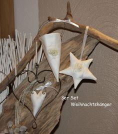 Weihnachts Dekoset 3 Teile  KC19 von byGretchen auf DaWanda.com das Trio besteht aus einer Zuckertüte(kann mit einer Kleinigkeit befüllt werden),einem Stern und einem kleinen Herzchen