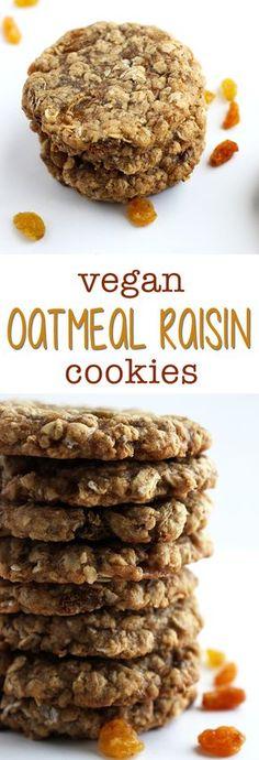 Vegan Oatmeal Raisin Cookies - Sweet Like Cocoa - Vegan Recipes Vegan Treats, Vegan Foods, Vegan Dishes, Vegan Snacks, Vegetarian Cookies, Healthy Vegan Desserts, Healthy Recipes, Food Dishes, Vegan Vegetarian