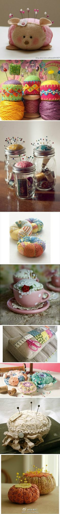 DIY pincushions                                    THERE IS A PINCUSHION HERE  MADE USING A MASON JAR THAT INCLUDES A STORAGE AREA       M
